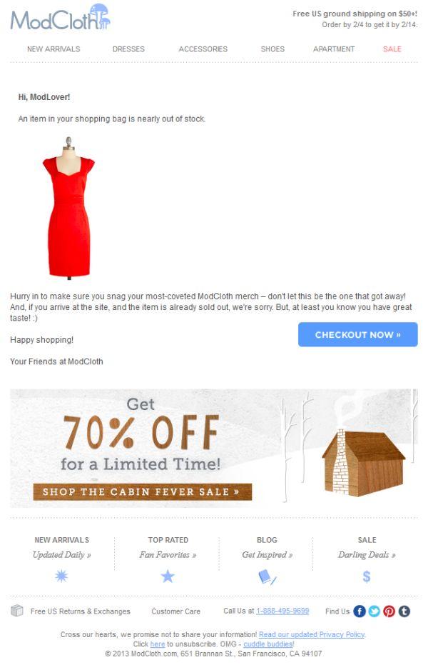 ModCloth abandoned cart email