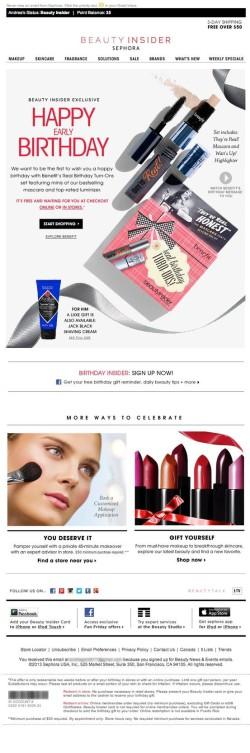 Sephora birthday email