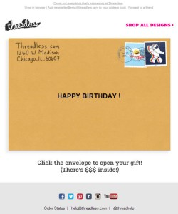 Threadless birthday email