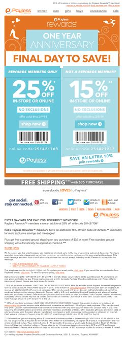 Payless Shoe Souce anniversary email