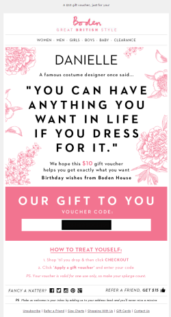 Boden birthday email
