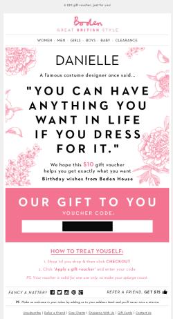 Boden birthday email