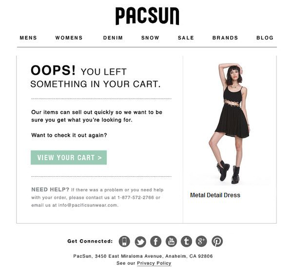Pacsun abandoned cart email