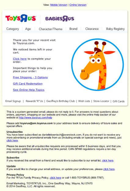 Toys R Us abandoned cart email