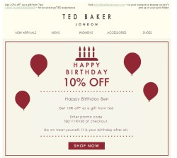 Ted Baker birthday email