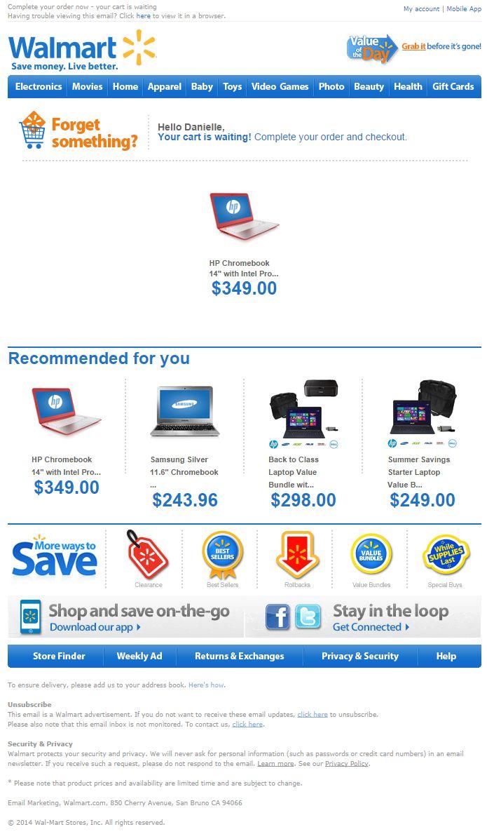 Walmart abandoned cart email
