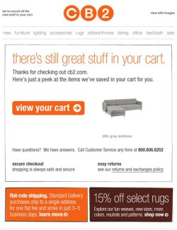 CB2 abandoned cart email