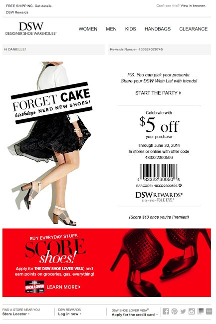 DSW birthday email 2014