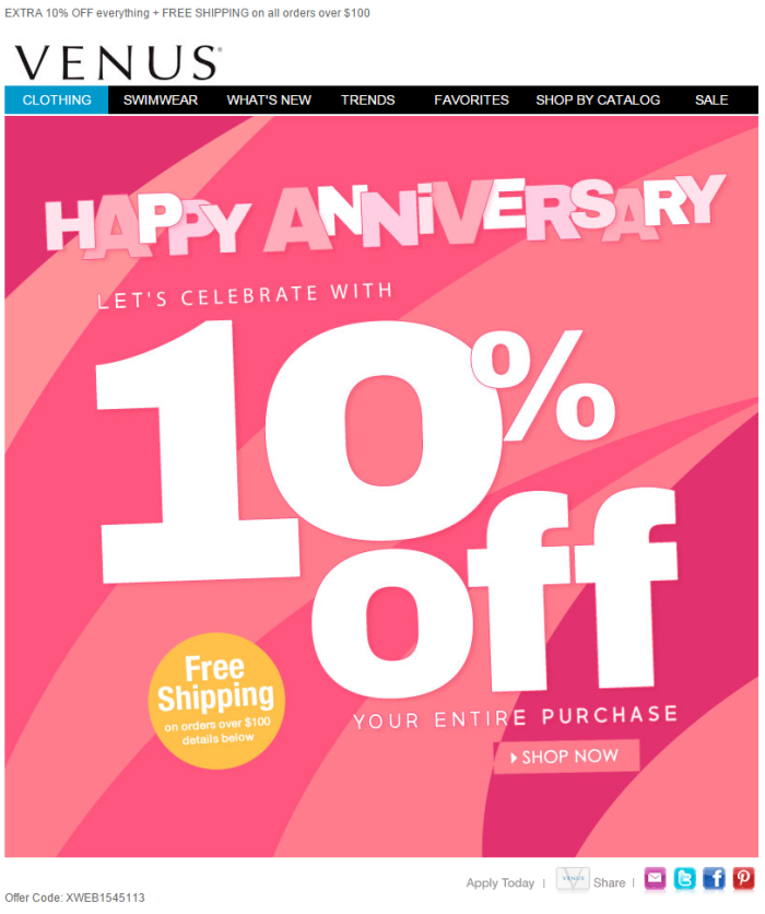 Venus anniversary email