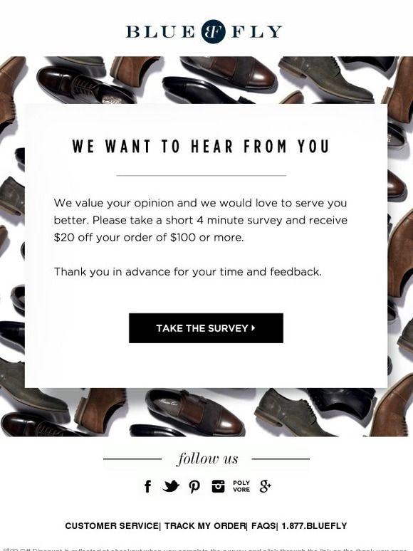 Bluefly survey email