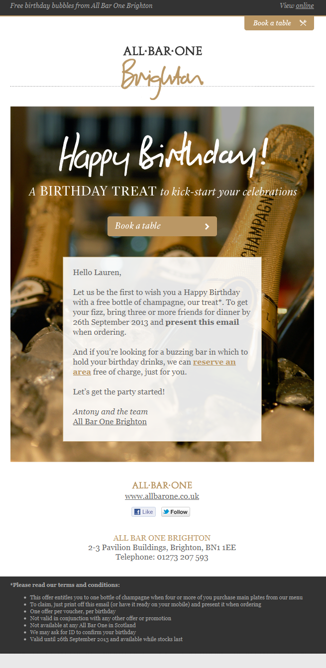 All-Bar-One birthday email