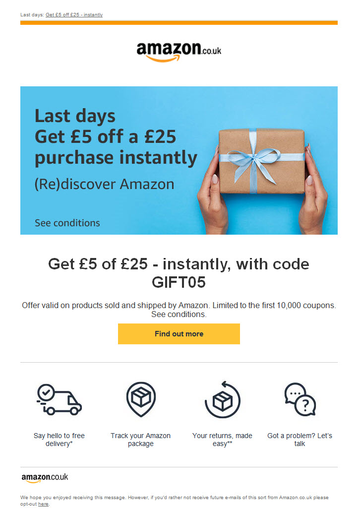 Amazon instant discount coupon – reactivation email