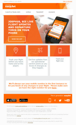 EasyJet triggered app download email