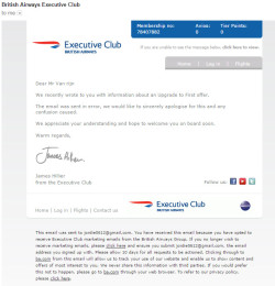 British Airways Apology email