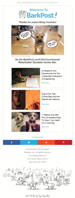 Barkpost welcome email