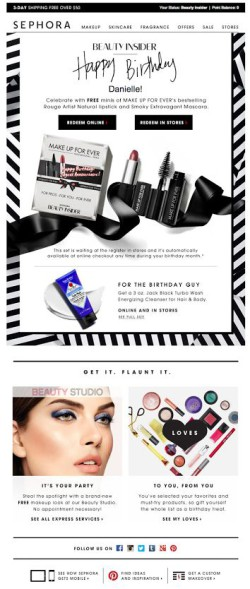 Sephora birthday email