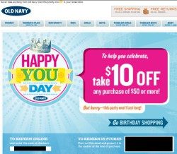 Old Navy birthday email