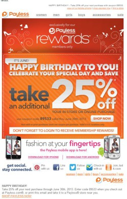 Payless birthday email