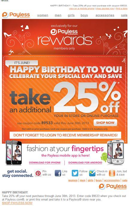 Payless birthday email