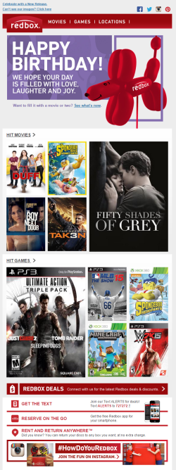 Redbox birthday email June 2015
