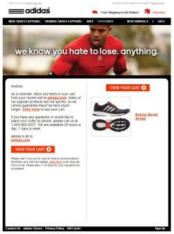 Adidas abandoned cart email