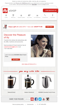 Illy Coffee browse abandonment