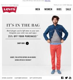 Levi's Abandoned Cart email