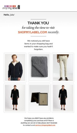 shopmylabel.com browse abandonment email