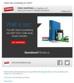 Staples abandoned cart email