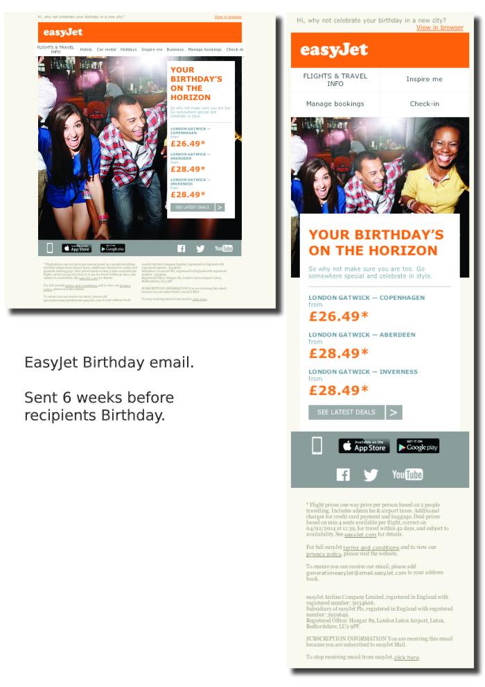 easyjet birthday emails