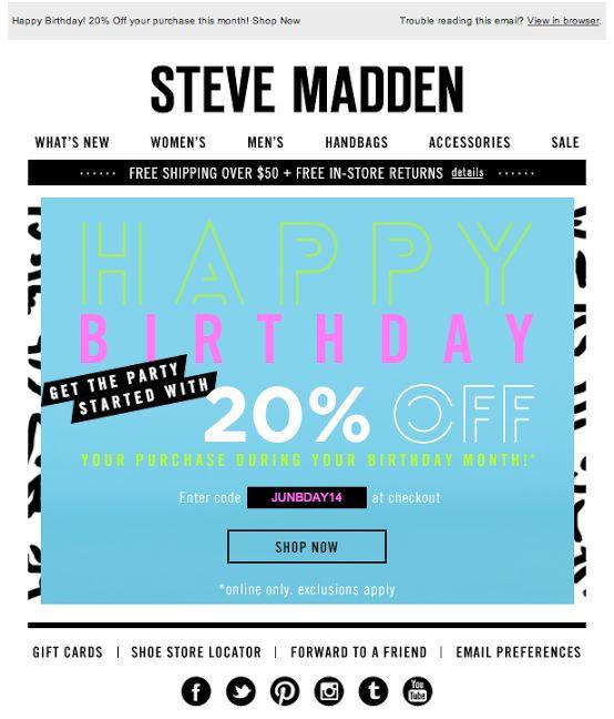 Steve Madden birthday email