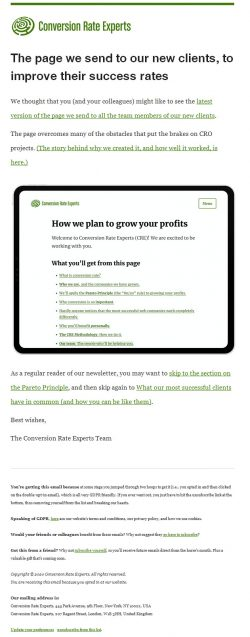 Send a Customer Success page to get new clients