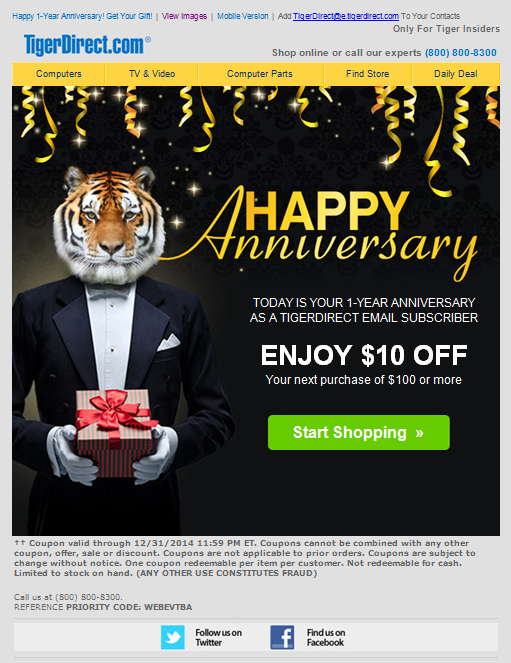 TigerDirect.com anniversary email