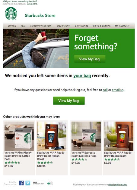 Starbucks Store abandoned cart email