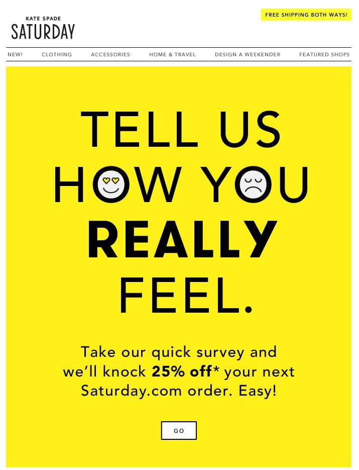 Famous Kate Spade Saturday survey email - Email Newsletter Examples  PM98