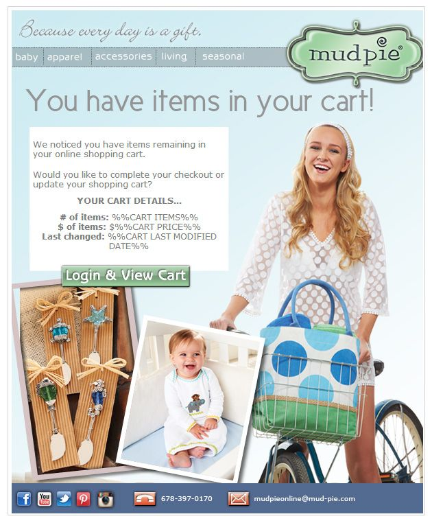 Mudpie abandoned cart email