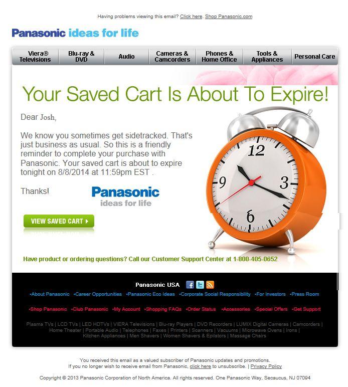 Panasonic abandoned cart email