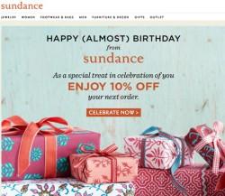Sundance birthday email