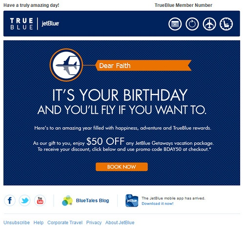 True Blue birthday email