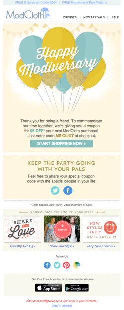 Modcloth anniversary email
