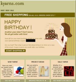 kyarns.com birthday email