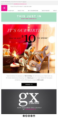 Shoedazzle birthday email