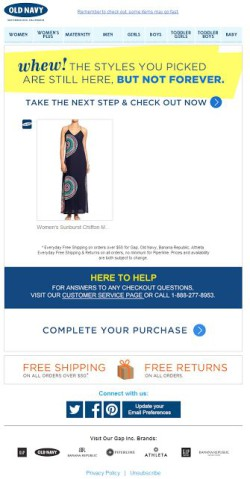 Old Navy abandoned cart email