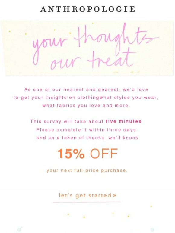 Anthropologie survey email