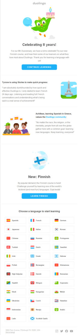 DuoLingo reactivation email