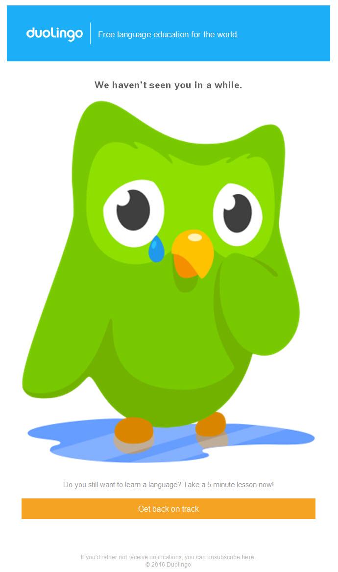DuoLingo – Reactivation email