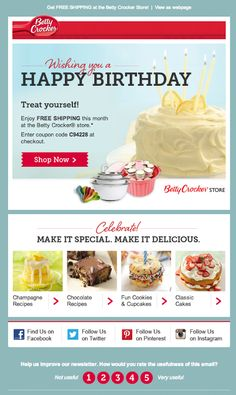 Betty Crocker birthday email