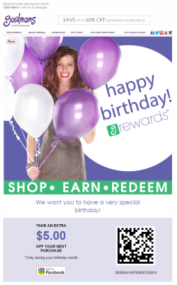 Gordmans birthday email