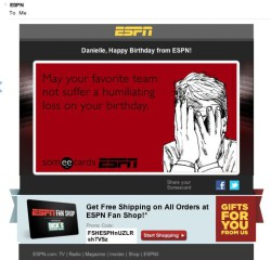 ESPN birthday email