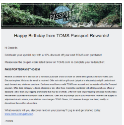 TOMS Passport Rewards birthday email